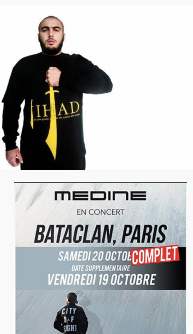 «Médine» chante «crucifions les les laïcards», loue le Jihâd qu'il écrit avec un sabre: programmé au Bataclan !
