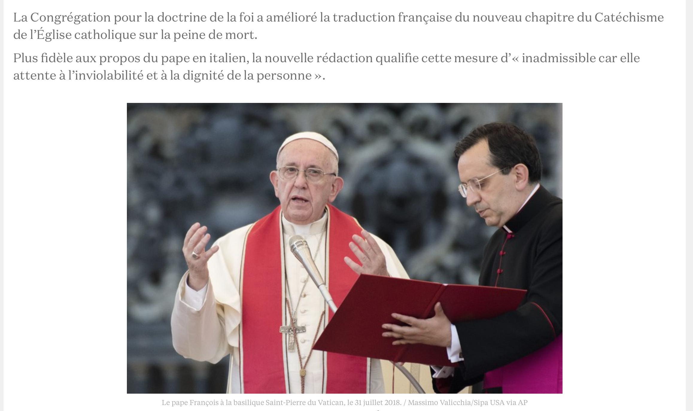 Le pape, en interdisant la peine de mort, trahit les enseignements du Christ