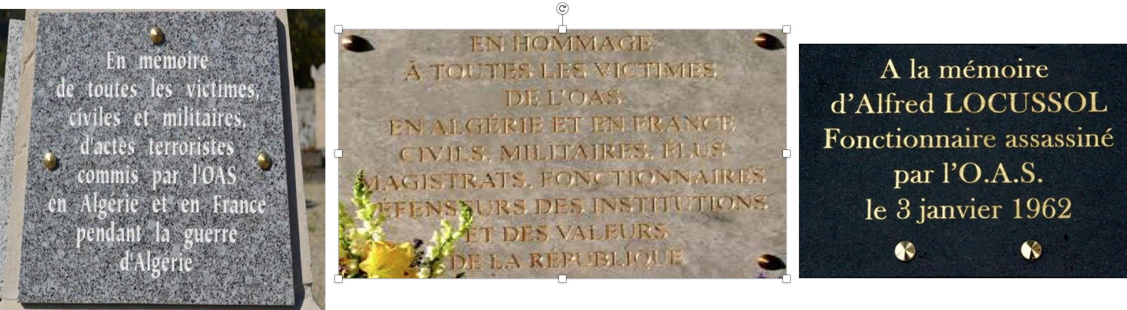 Sur les plaques commémoratives on dénonce  l'OAS, les nazis ou les collabos, jamais les musulmans  !