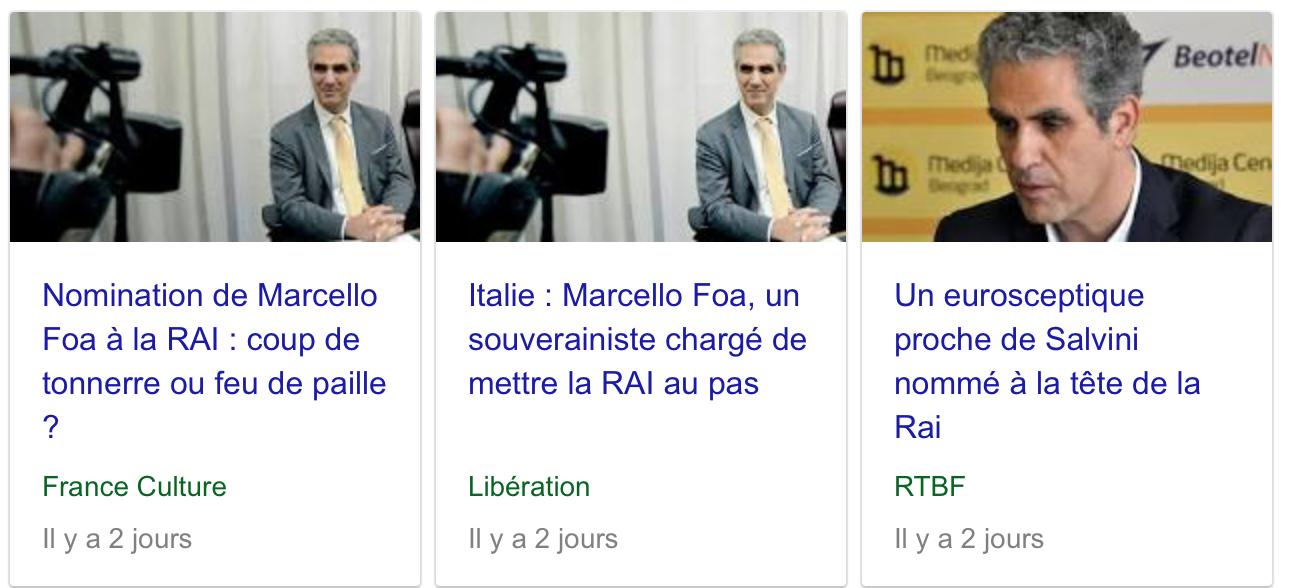 Marcello Foa à la tête de la RAI, c'est Zemmour à la tête de France Télévision !