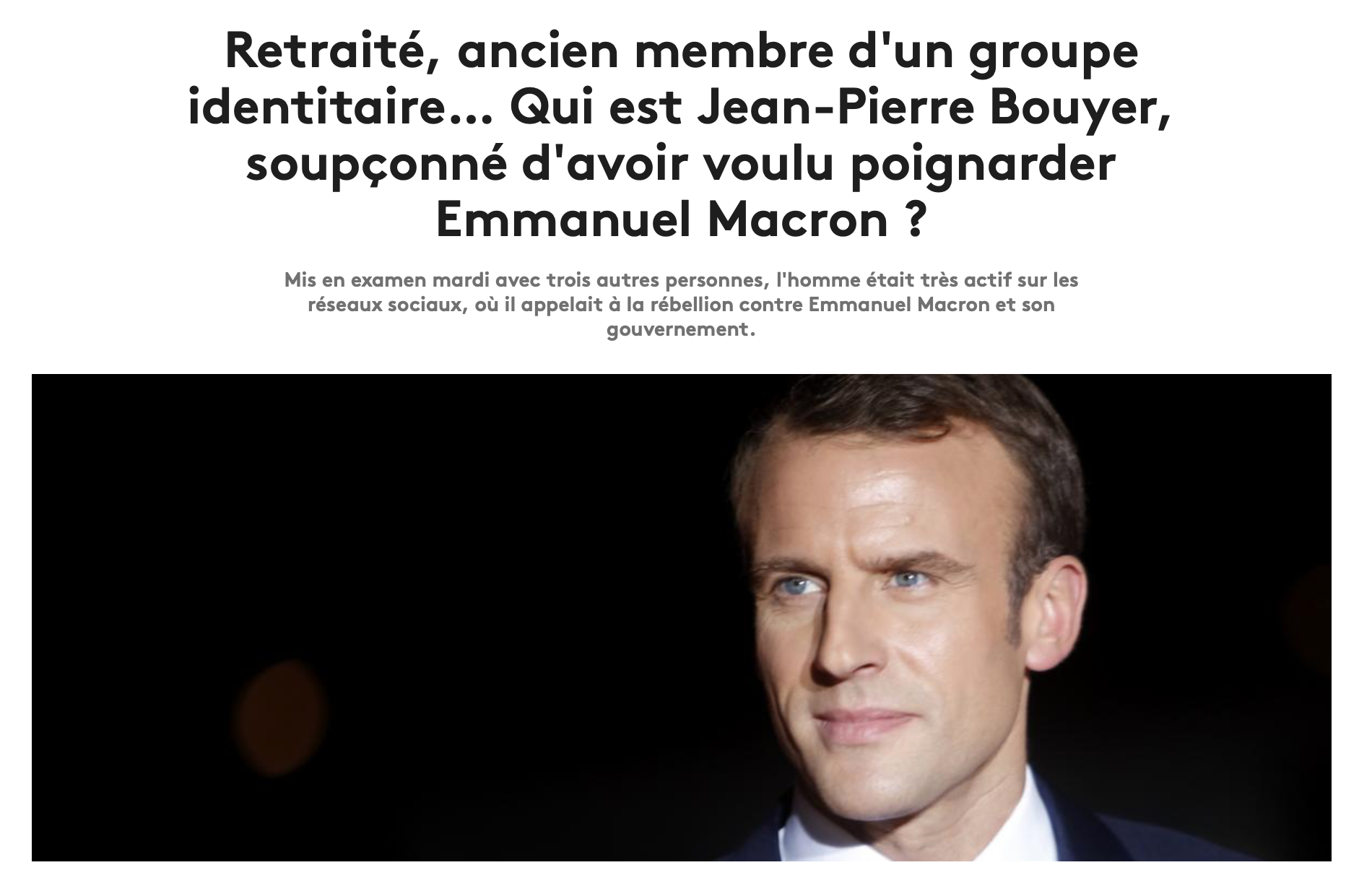 Je suis fière d'avoir pour ami Jean-Pierre Bouyer, accusé d'avoir voulu poignarder Macron