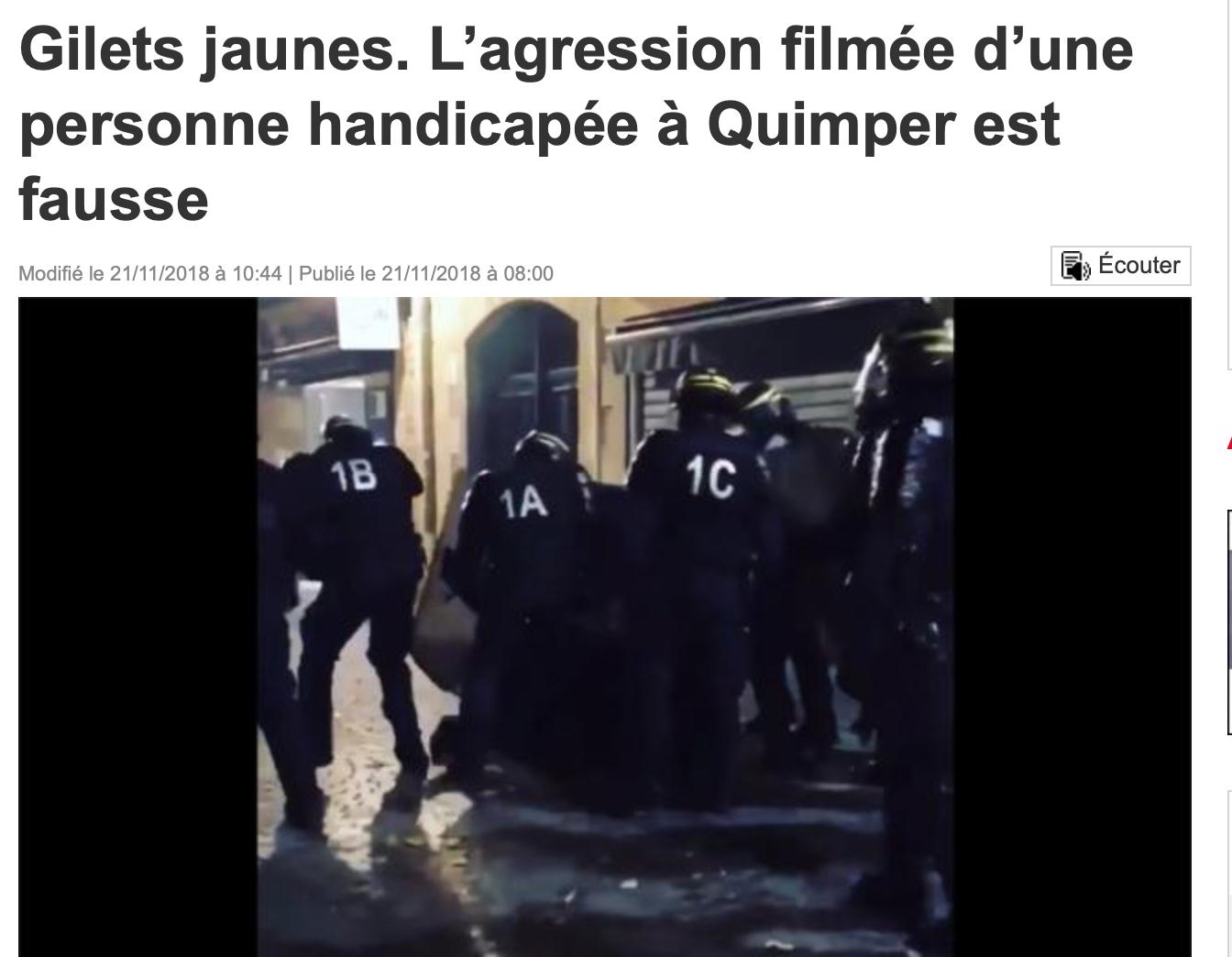 Quimper : des gauchistes voulaient faire croire que des CRS avaient attaqué un handicapé !