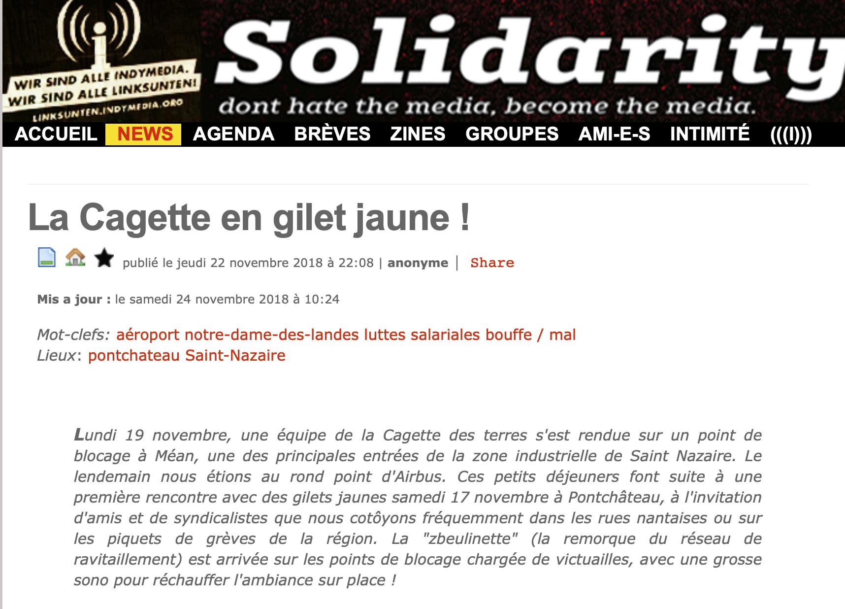 Loire-Atlantique : les zadistes à la manoeuvre pour faire main basse sur les Gilets Jaunes