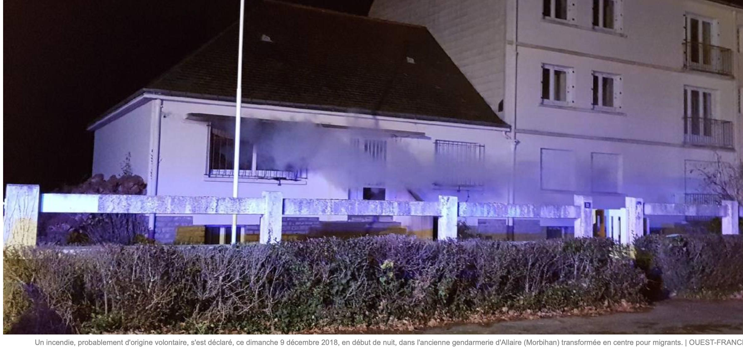 Brève : malencontreux accident, la gendarmerie d'Allaire, destinée aux clandestins en feu
