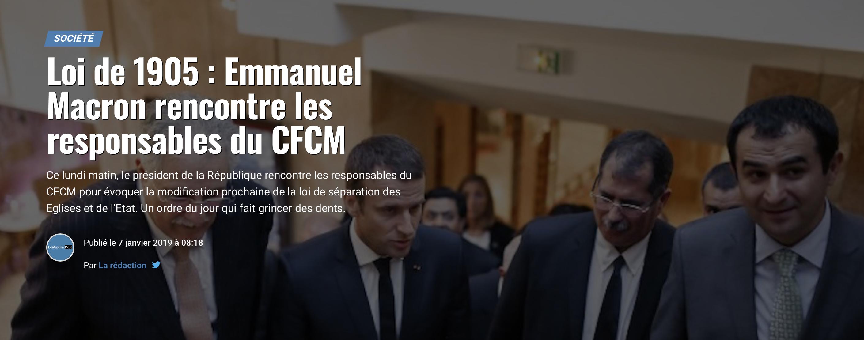 C'est le CFCM qui va modifier NOTRE loi de 1905 !