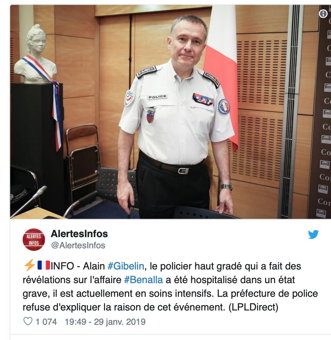 Affaire Benalla : rebondissements, le policier Alain Gibelin qui s'était rétracté en soins intensifs !
