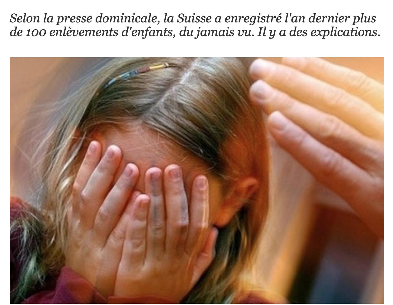 Suisse : plus de 100 enfants enlevés en 1 an… par leur père musulman ?