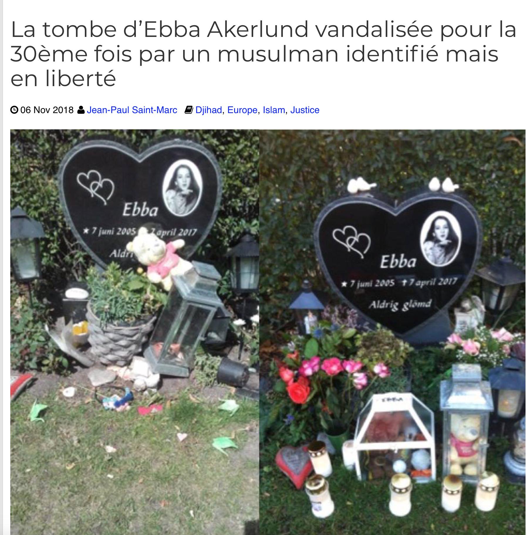 C'est parce que des musulmans ont tué la petite Ebba Akerlund que Brenton Tarrant a tué à Christchurch