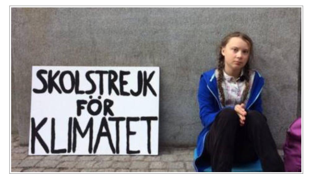 Greta fait la grève contre les explosions d'énergie qui se sont produites quand l'homme n'existait pas