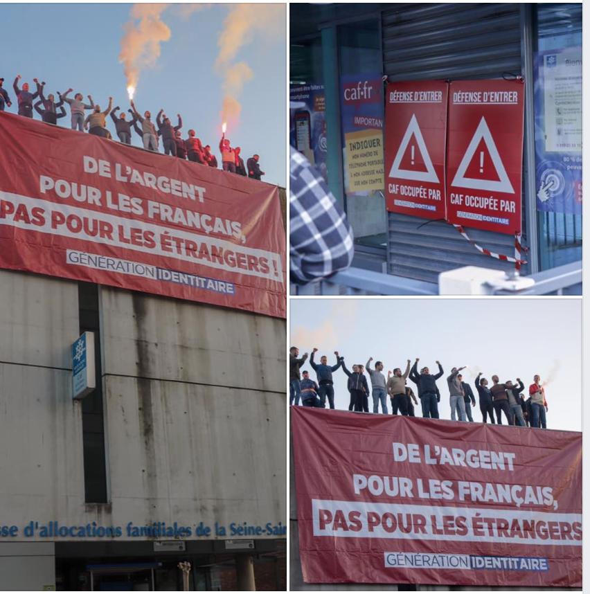 Coup de chapeau à Génération identitaire qui occupe le toit de la CAF de Bobigny