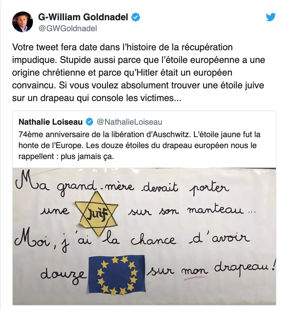Quand la propalestinienne Loiseau comparait l'étoile juive et les étoiles du drapeau européen…