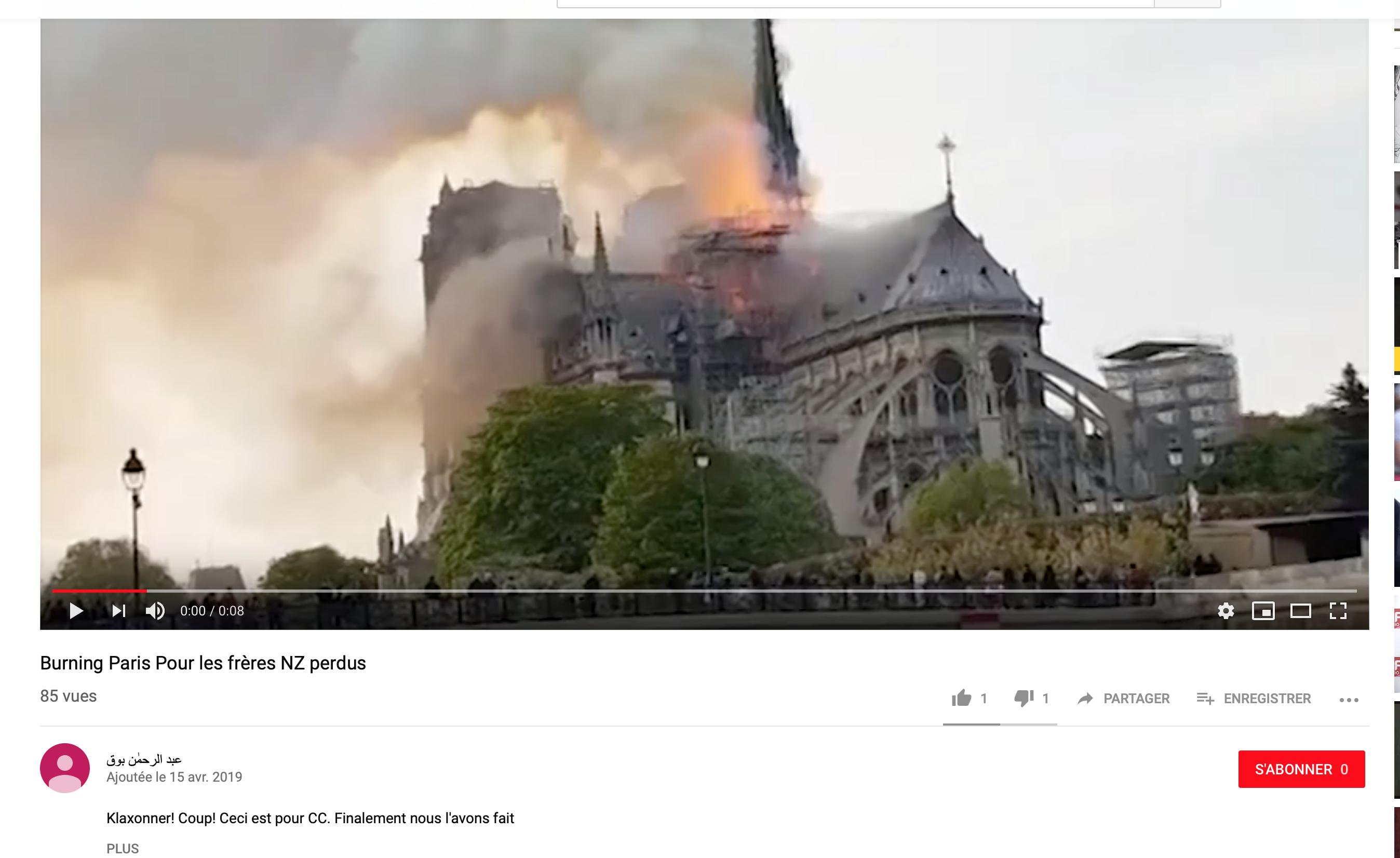Des musulmans revendiquent l'incendie de Notre-Dame en représailles de Christchurch