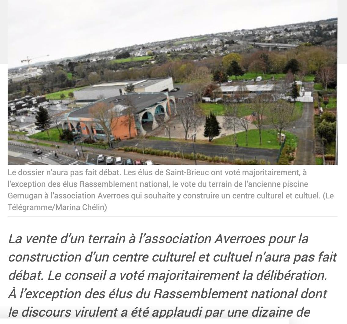 Mosquée de Saint-Brieuc : seul le RN a dit non à la vente du terrain (55 000 euros en-dessous de sa valeur) !