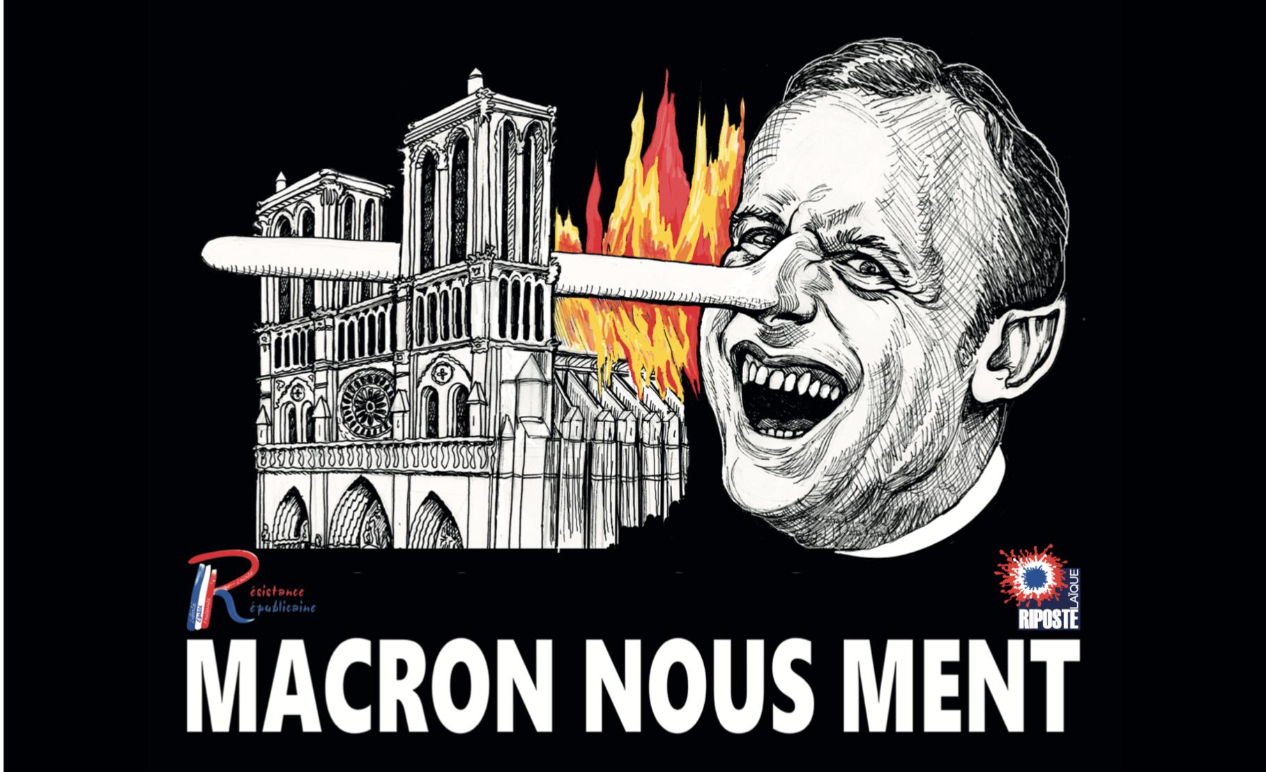 Faites la nique à Macron avec nos autocollants gratuits :  «incendie de ND, Macron menteur»