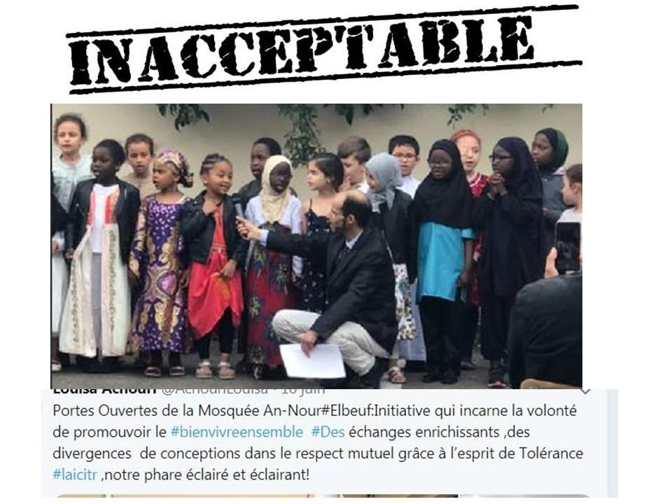Honte à l'élue Louise Achouri qui confond, comme trop d'élus locaux, Mairie et mosquée