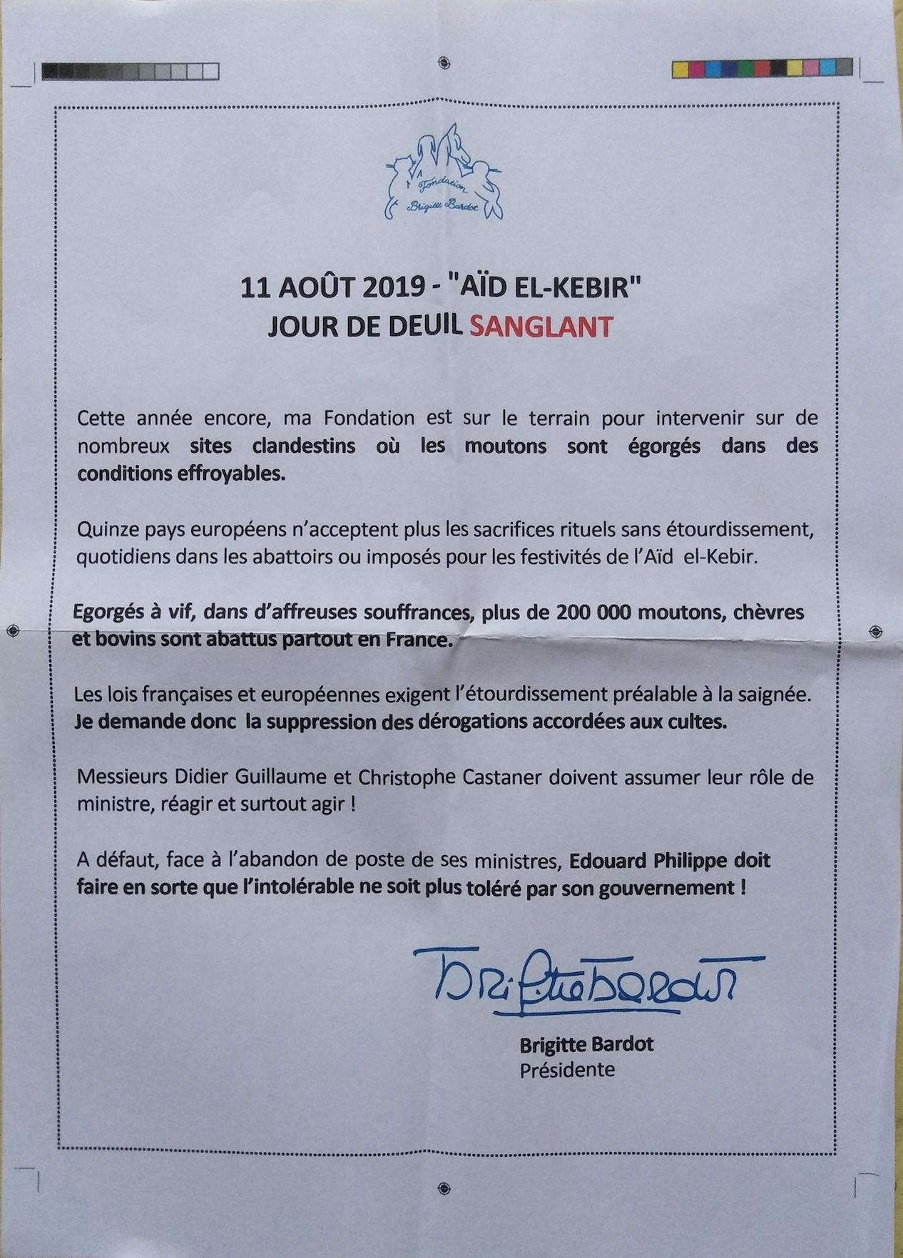 Brigitte Bardot : demain, c'est l'Aïd-El-Kebir, jour de deuil sanglant