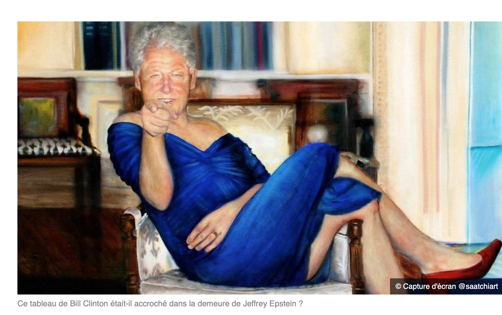 Qui a tué Epstein dans sa cellule ? Clinton qu'on voit en robe et hauts-talons dans un tableau ?