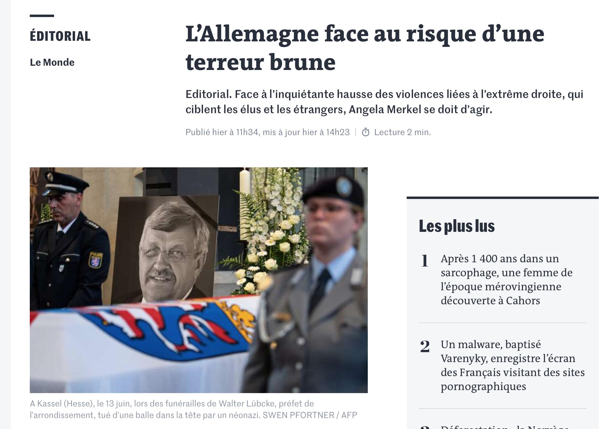 Pierre Cassen : «le Monde» alerte, la terreur brune frappe en Allemagne (video)