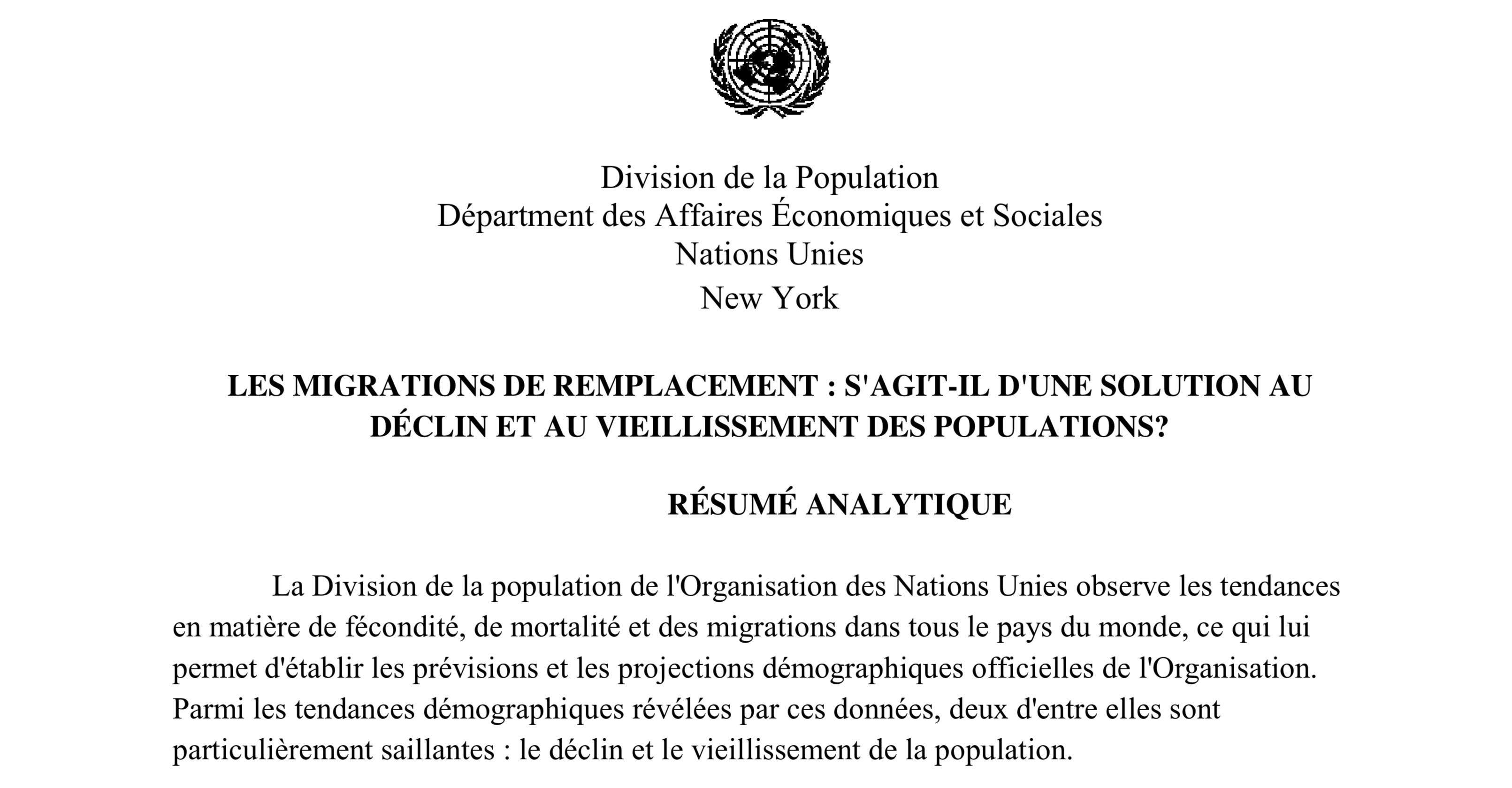 L'ONU reconnaît le «Grand Remplacement»,  imposé par les élites aux peuples jamais consultés !