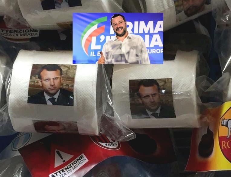 Les Italiens se torchent le cul avec la gueule à Macron, Salvini applaudit !