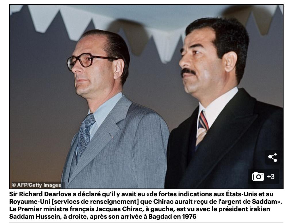 Enorme ! Saddam aurait donné 5 millions de livres à Chirac  pour qu'il dise non à la guerre d'Irak