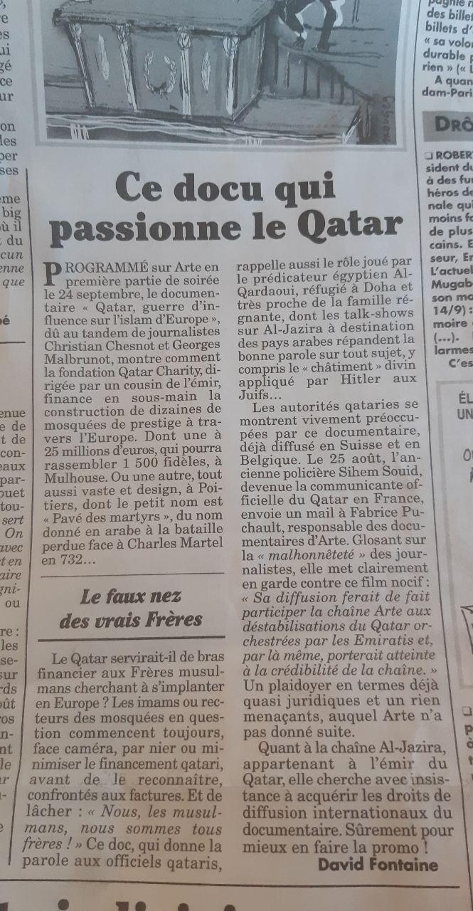 Le 24/09, en première partie de soirée, documentaire choc sur le Qatar : faut-il s'en réjouir ?