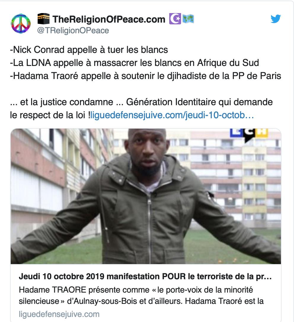 L'infâme Adama Traoré organise une manifestation en hommage à Harpon, le terroriste qui a tué 4 policiers