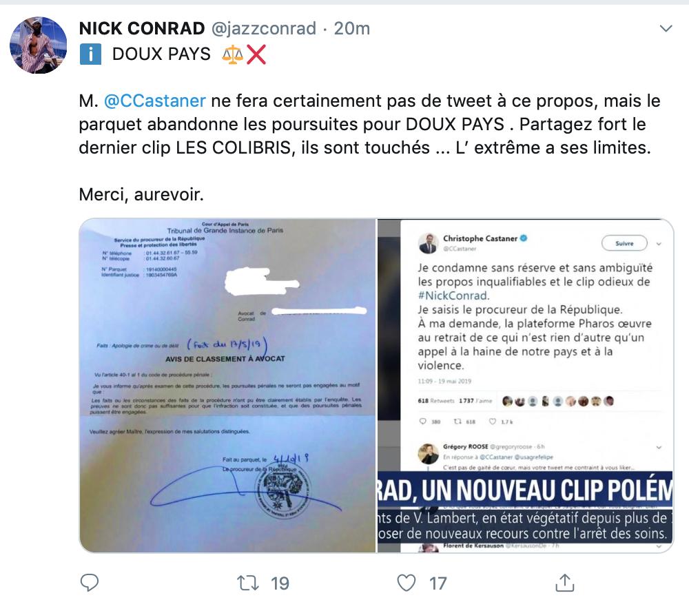 Le parquet renonce à poursuivre Nick Conrad ! Seule Résistance républicaine le traînera au tribunal