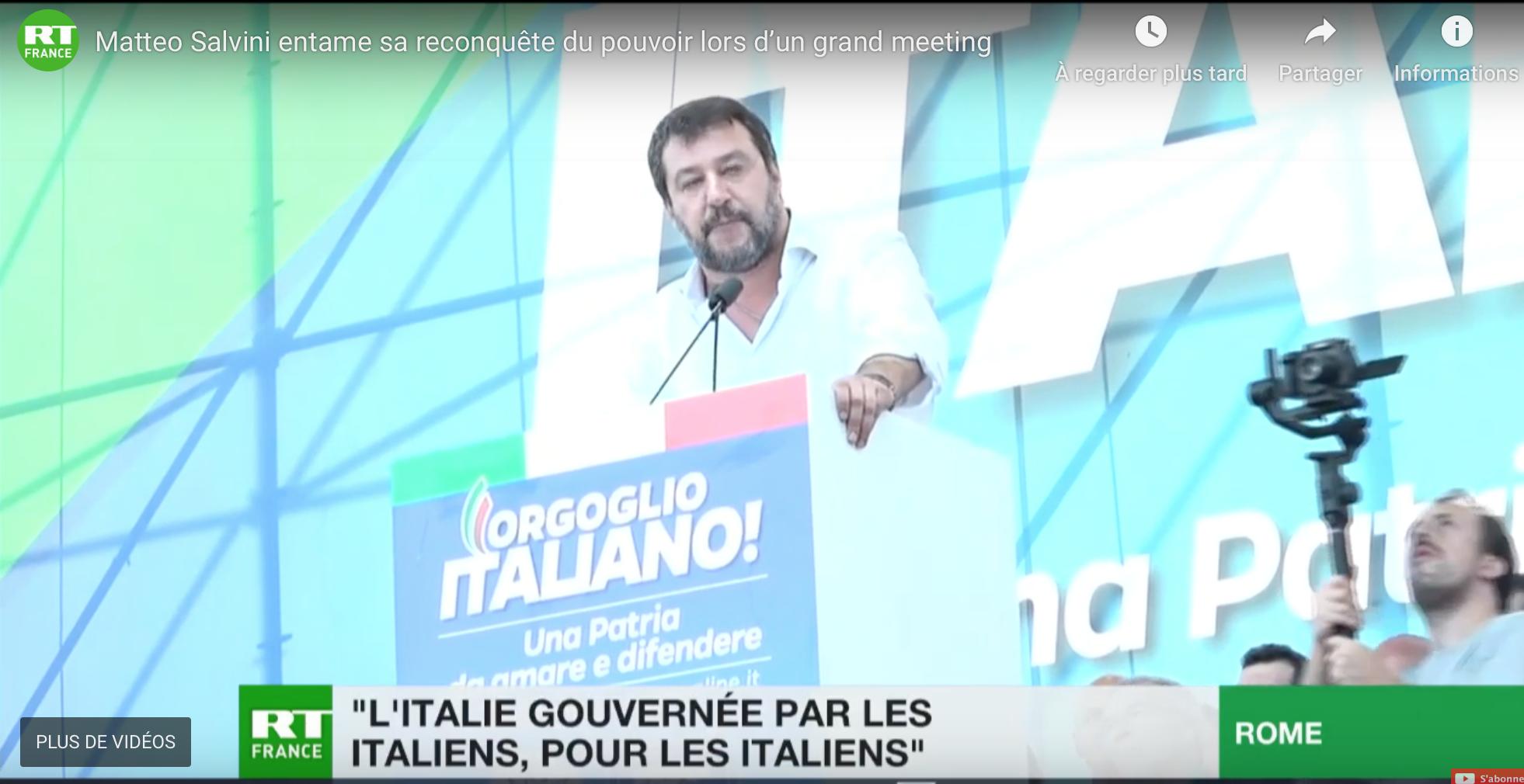 Journée de la fierté italienne : Salvini repart à la conquête du pouvoir «sans Macron et sans Merkel»