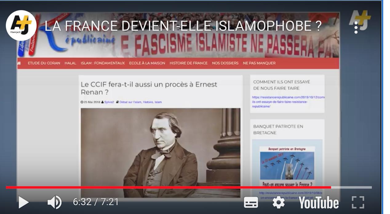 La chaîne du Qatar AJ+  attaque un article de  «Résistance Républicaine» qui citait  Renan !