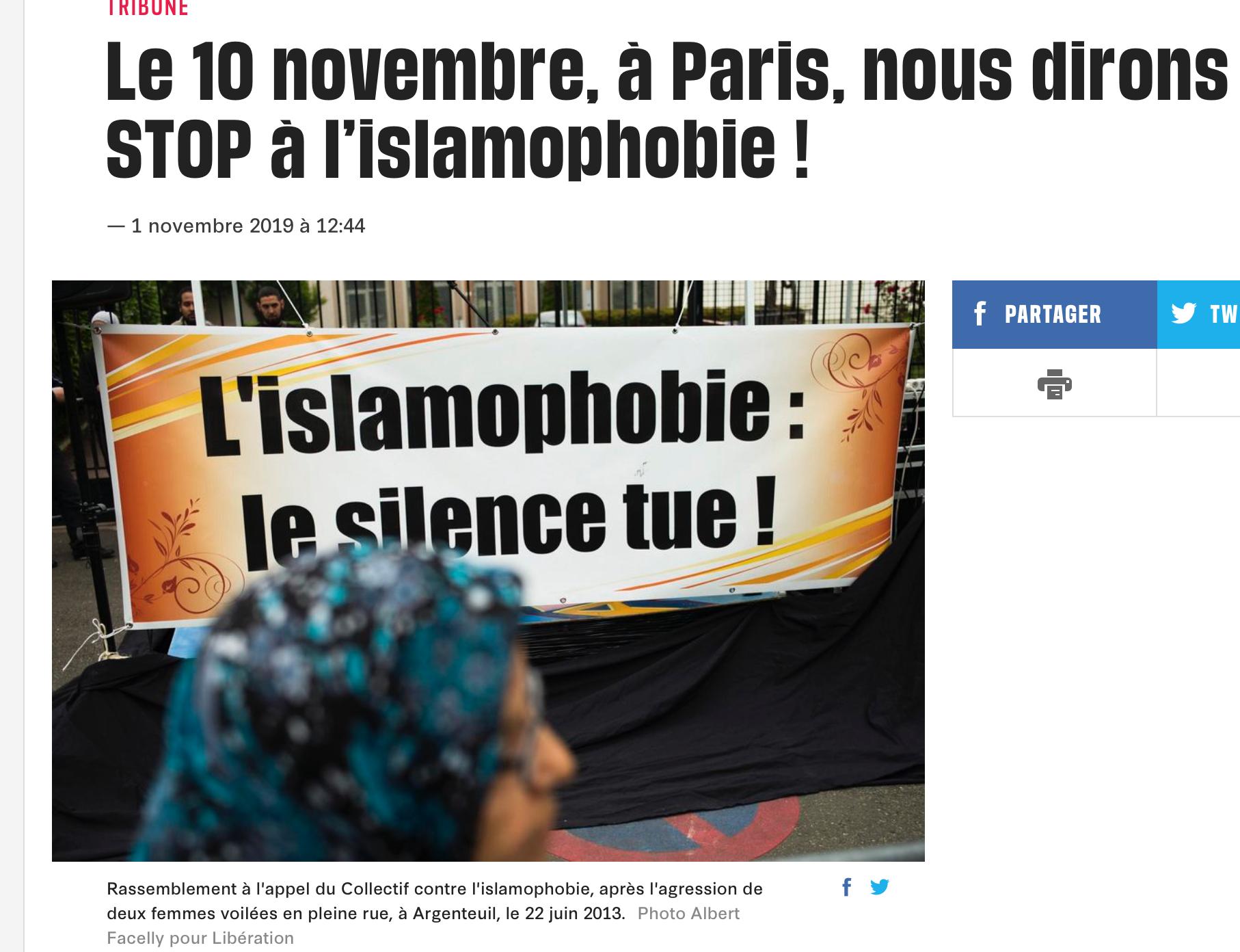 Pour commémorer le Bataclan, le 10/11/2019 les collabos manifestent pour le voile et le délit de blasphème !