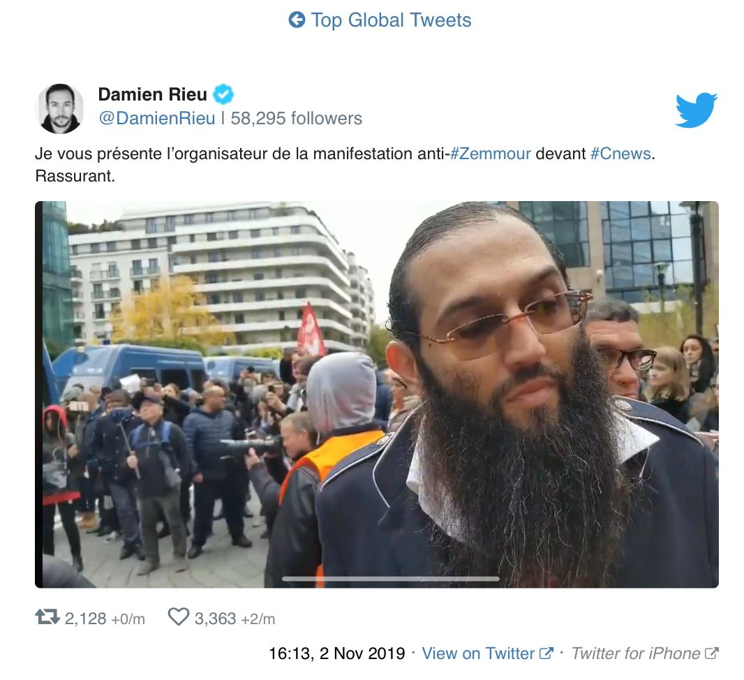 Je vous présente Eli Yess Zareli, islamiste fiché S et organisateur de la manifestation anti Zemmour