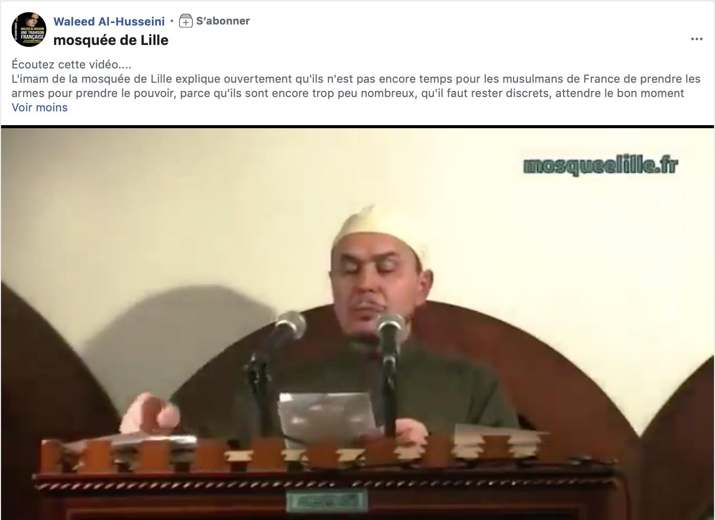 L'imam de la mosquée de Lille : il n'est pas encore temps de prendre les armes pour prendre le pouvoir