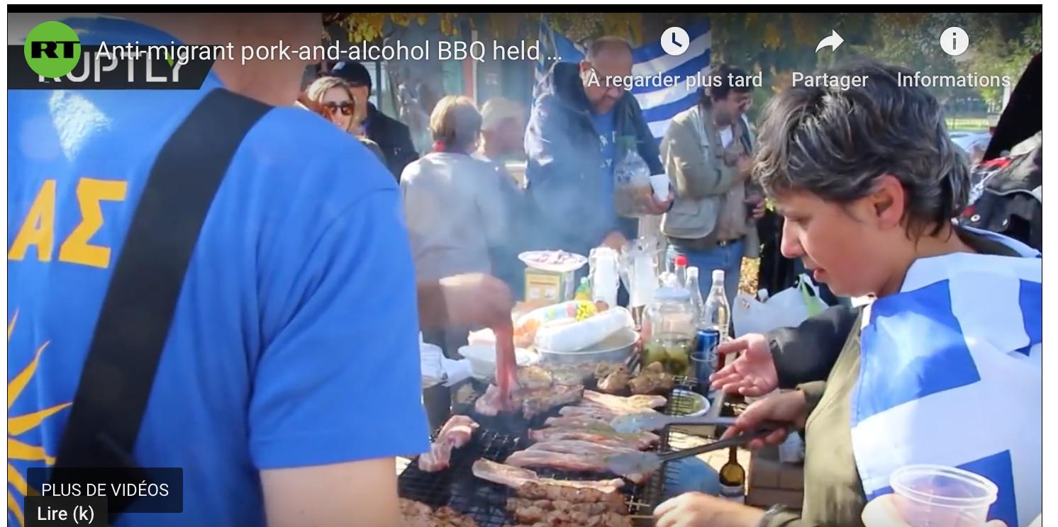 Porc et vin à volonté pour dire non aux migrants ! Les Grecs copient notre apéro saucisson-pinard