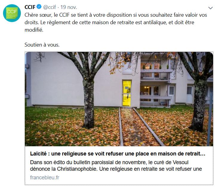 Le pervers CCIF veut défendre une religieuse catholique privée de maison de retraite pour cause de voile !