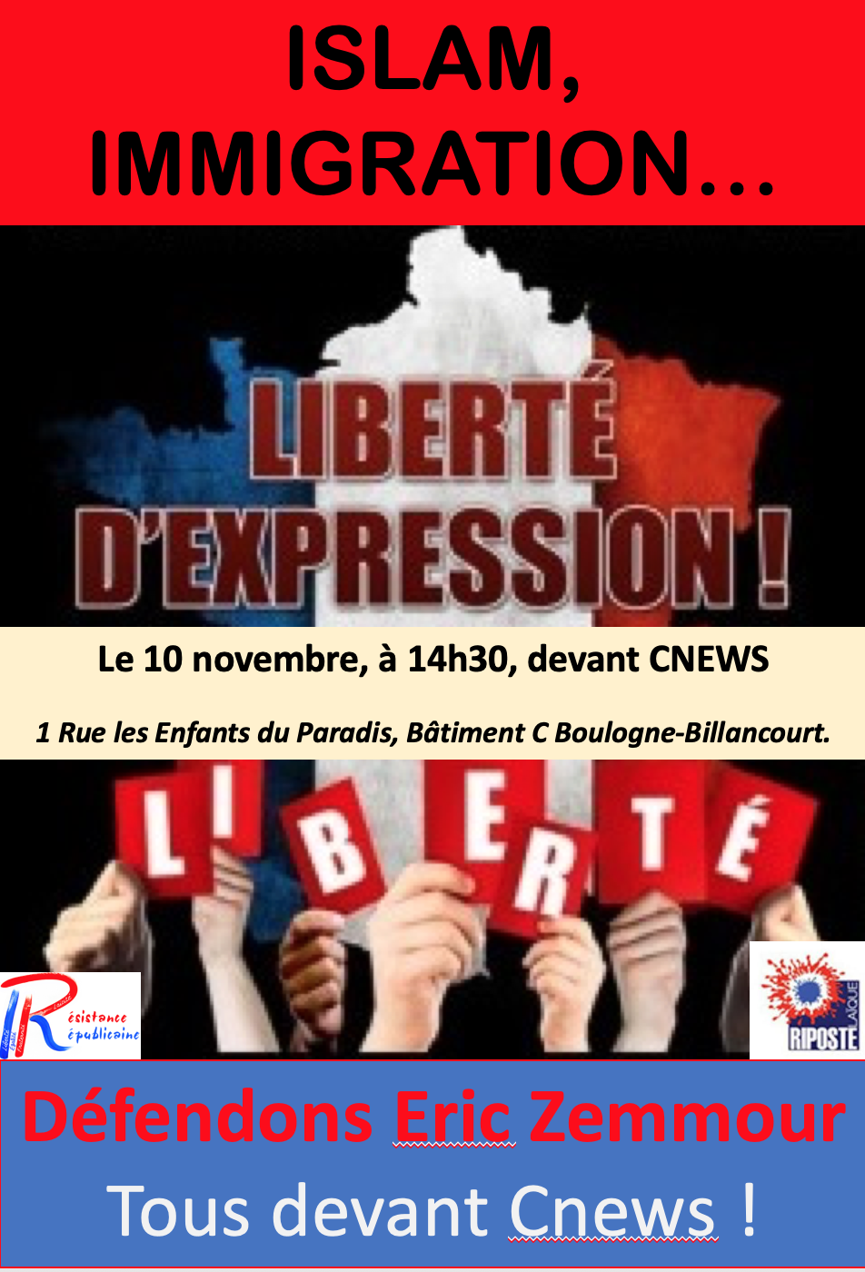 Co-voiturage pour rassemblement de soutien à Zemmour  le 10 novembre