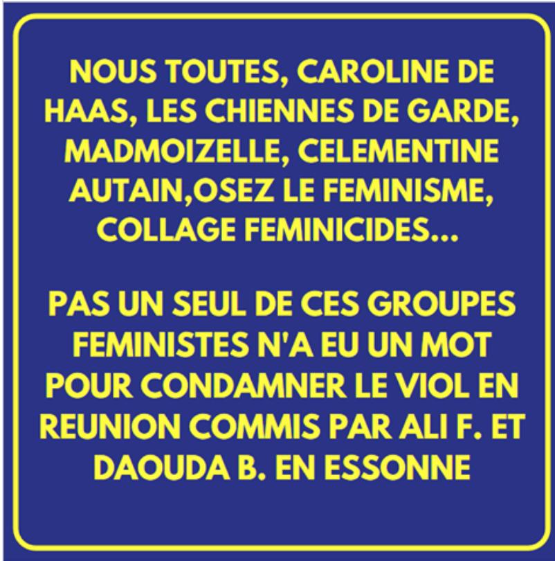 Némésis tacle magistralement les néo-pseudo féministes qui se taisent devant les viols commis par les migrants