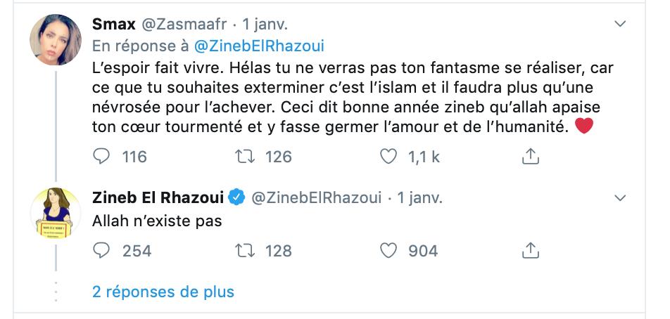 Belatar menace Zineb de mort ?  Zineb en remet une couche : Allah n'existe pas !