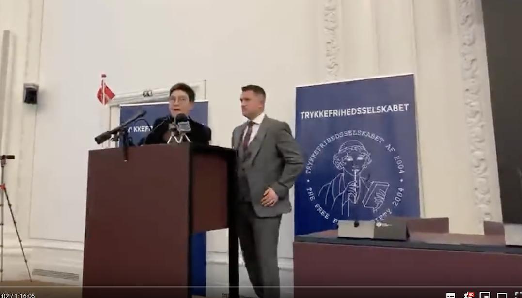 Réception du prix de la liberté d'expression au Danemark : discours de Tommy Robinson (traduction)