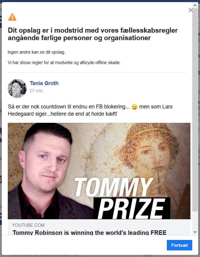 Le Résistant Tommy Robinson récompensé par le prix de la liberté d'expression au Danemark