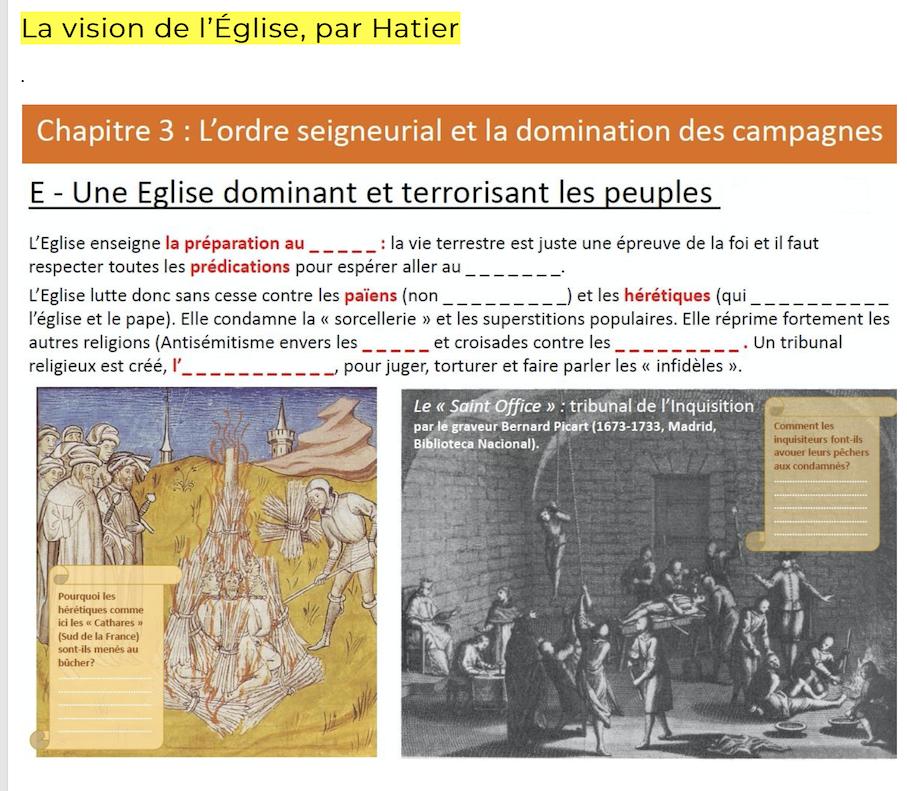 Livre d'histoire Hatier 5°: le Chapitre sur l'Eglise est digne de la propagande nazie sur les juifs