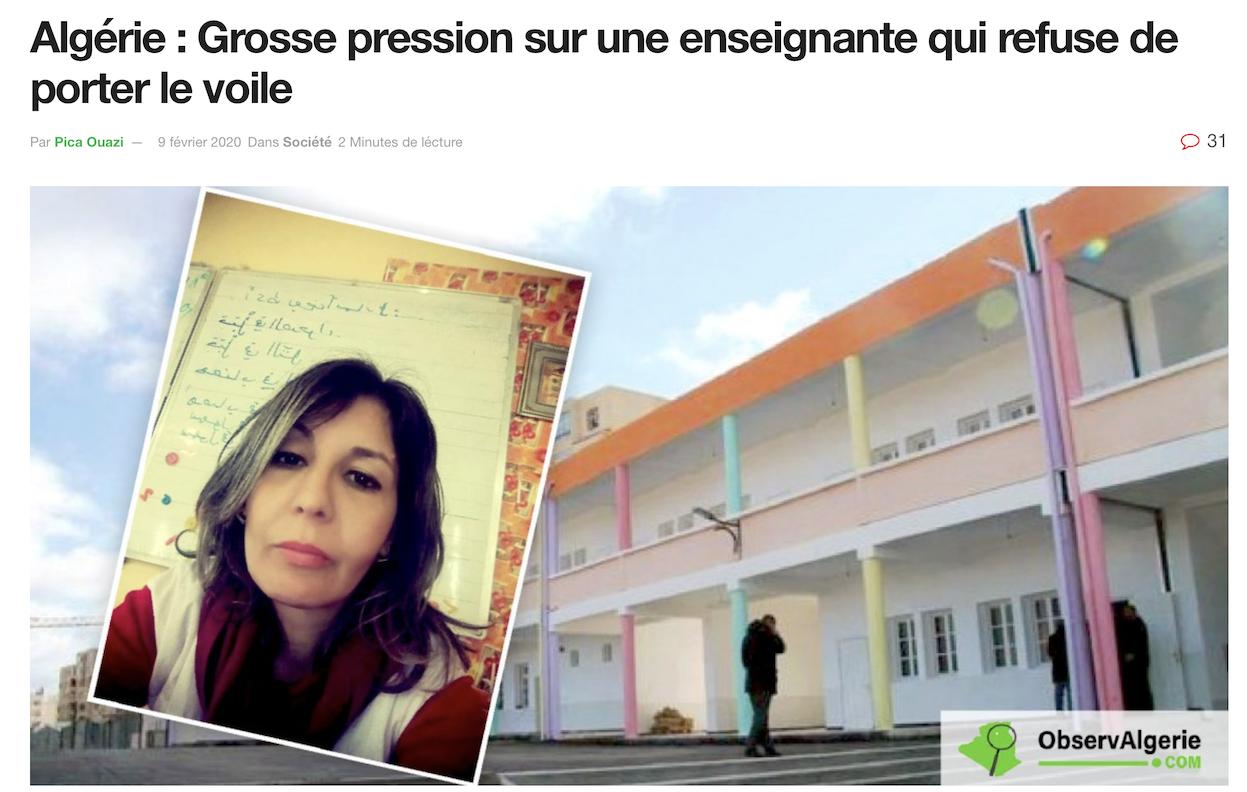 Algérie : la prof refuse de porter le voile ? Blâme, ponction sur salaire, conseil de discipline, mutation…