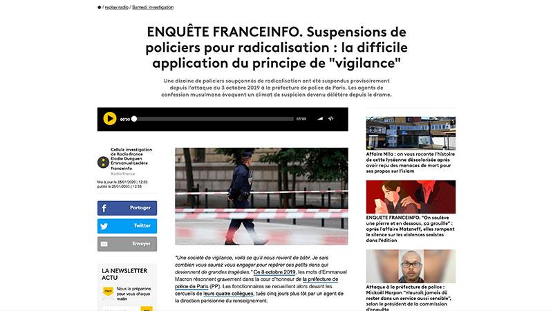 Quand France Info s'inquiète pour les pauvres policiers musulmans, soupçonnés de radicalisation…
