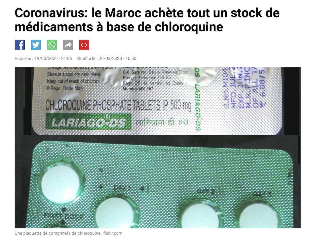 Chloroquine : Macron laisse le Maroc acheter à Sanofi son stock alors que le nôtre a été volé dans les hôpitaux ?