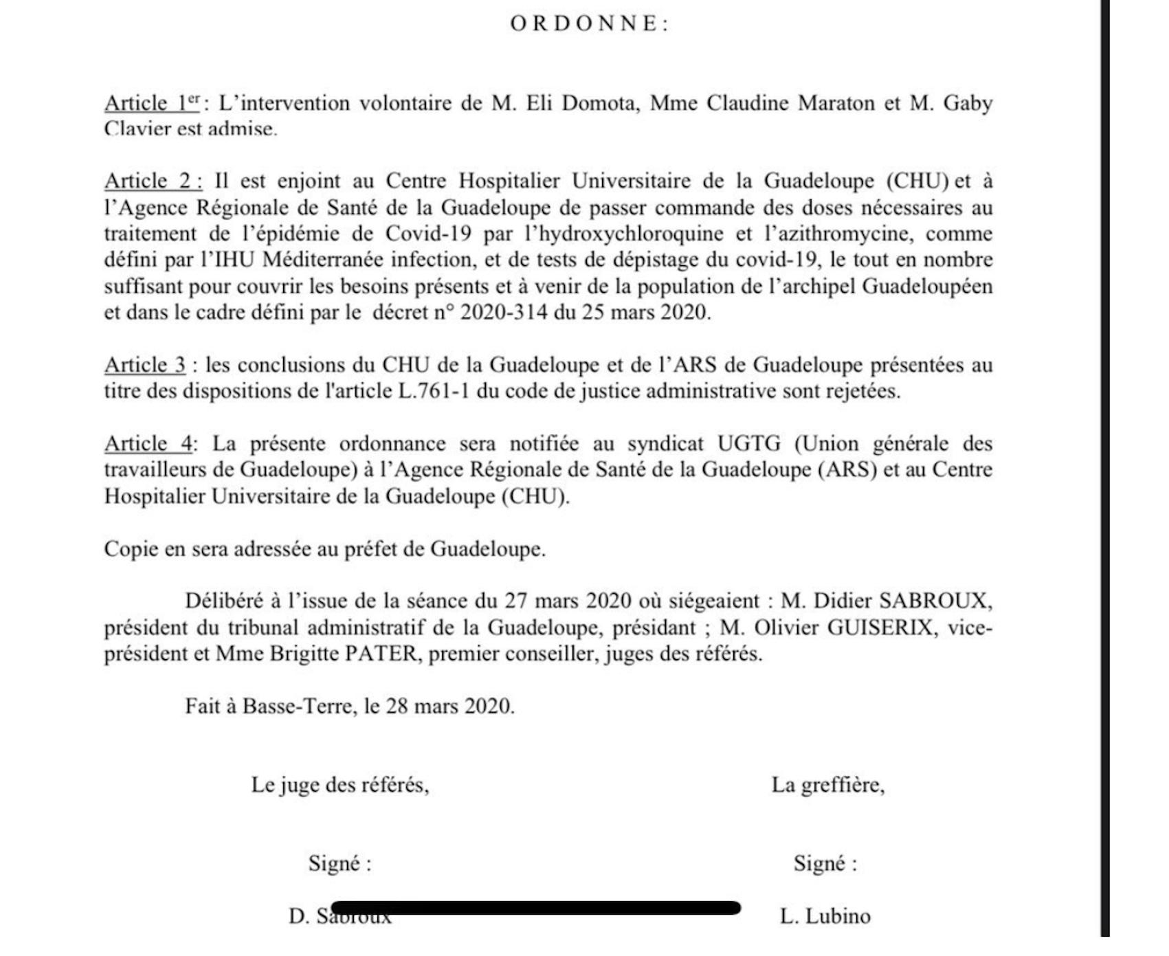 Enorme, le tribunal administratif de Guadeloupe oblige les médecins à donner de la chloroquine aux malades !