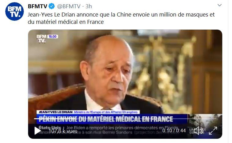 La Chine envoie 1 million de masques à la France tandis que Sibeth Ndiaye dénonce des «vols inadmissibles»