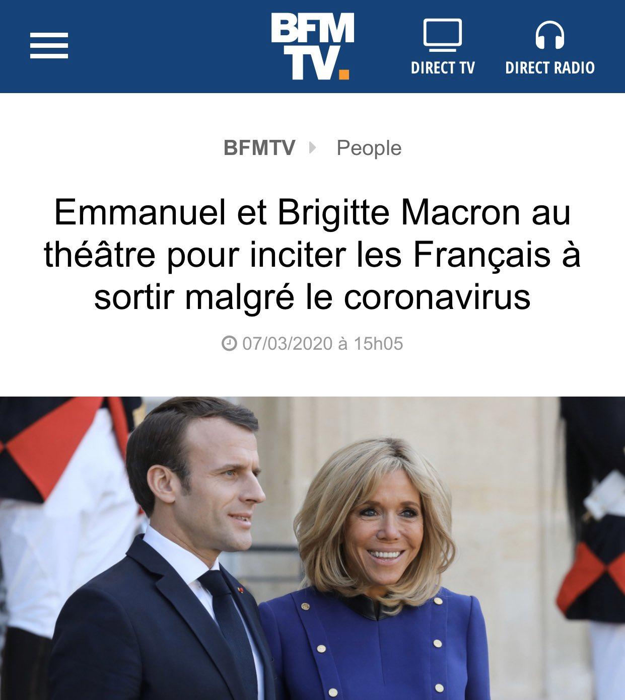 Coronavirus : il y a 8 jours les Macron allaient au théâtre pour inciter les Français à sortir