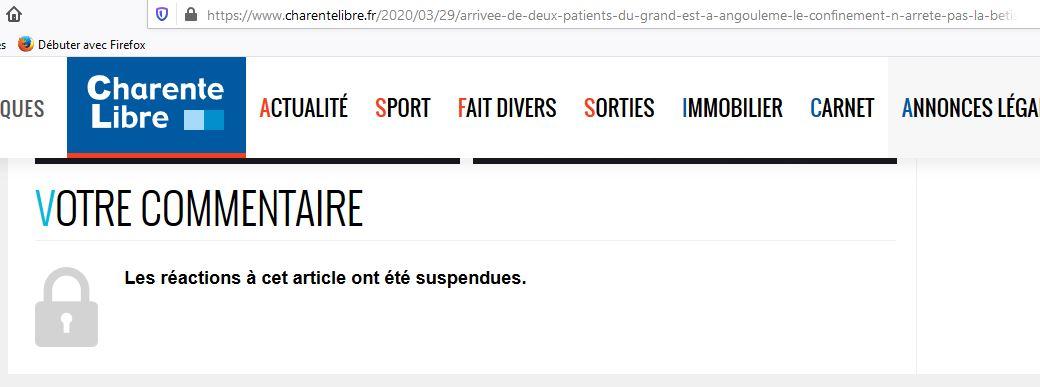 Charente libre : s'opposer au déplacement des malades du coronavirus et des migrants  c'est la même sottise