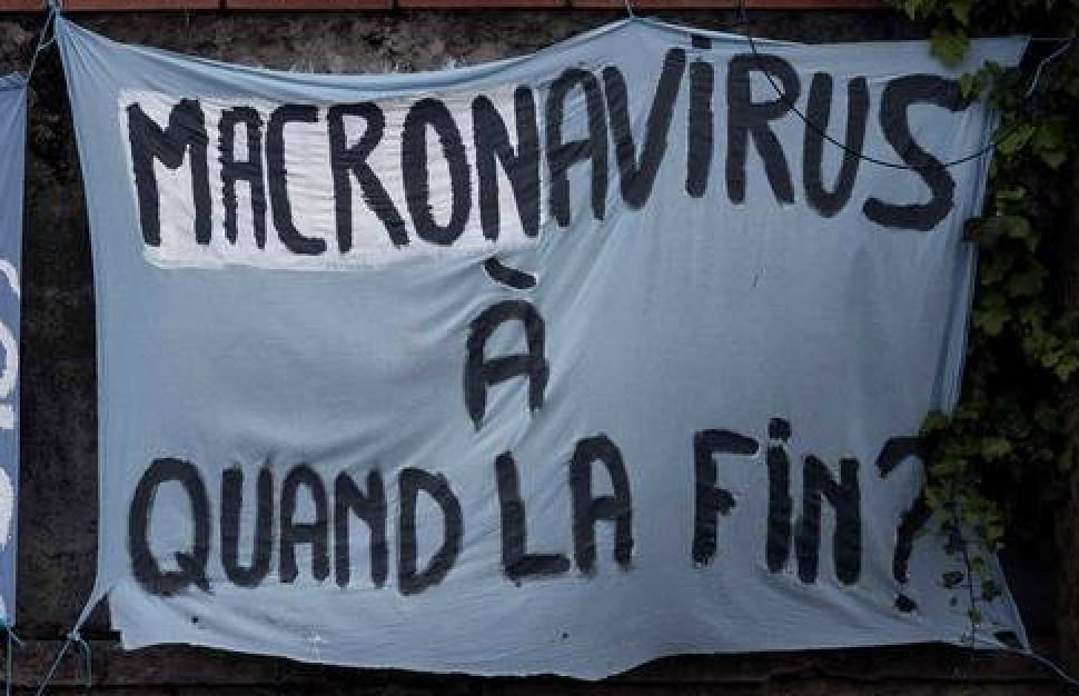 4 h de garde à vue pour une pancarte «Macronavirus à quand la fin ?» : Macron crève de trouille !