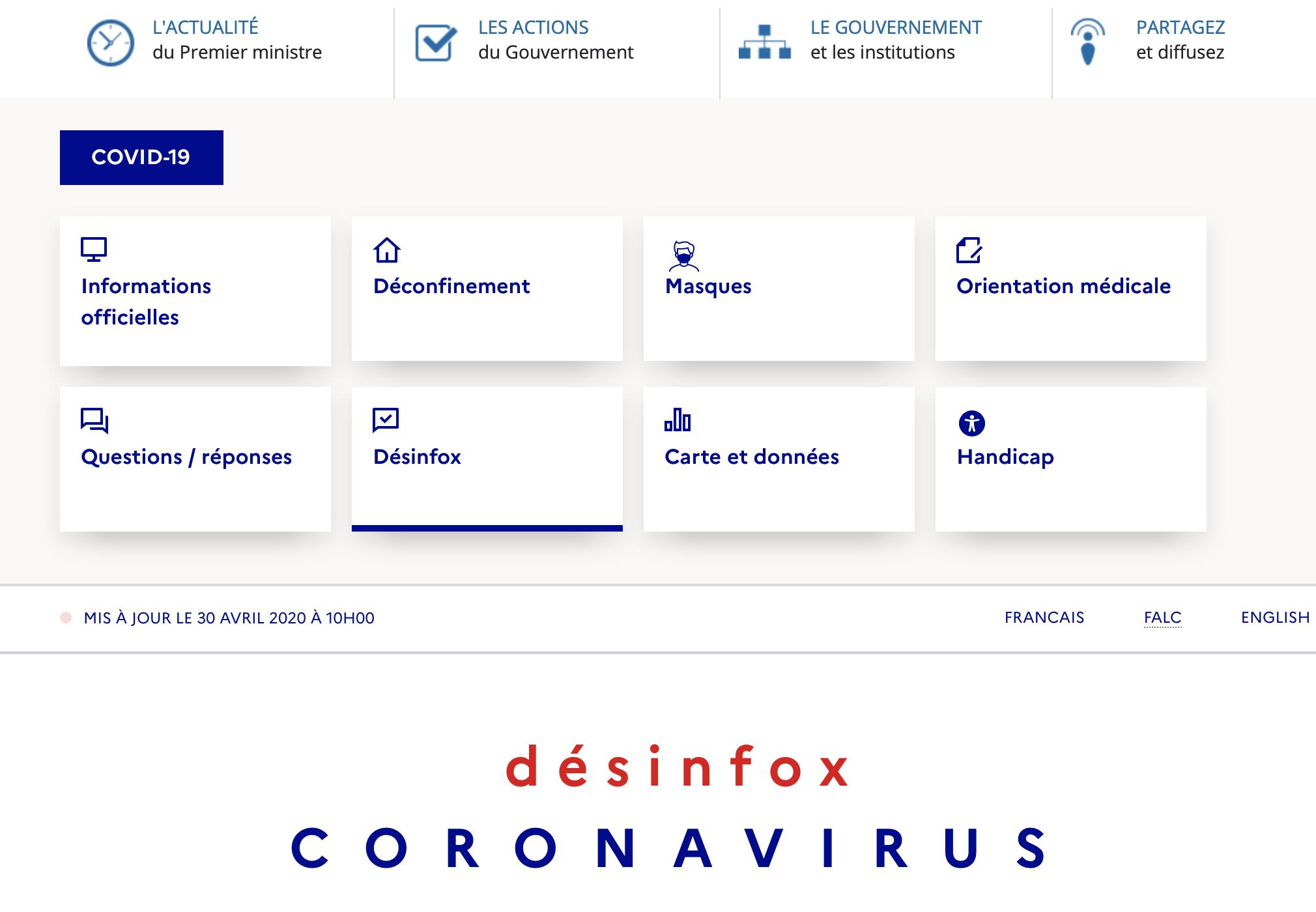 Si-bête présente le Ministère de la désinformation sur le site du gouvernement : Desinfox !